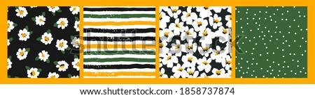 Abstract floral seamless patterns with chamomile. Trendy hand drawn textures. Modern abstract design for,paper, cover, fabric and other users