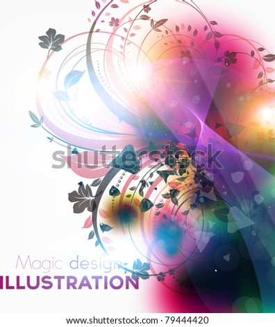 Abstract floral vector frame for summer bright magic design. eps 10.