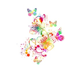 Abstract floral watercolor. Vector