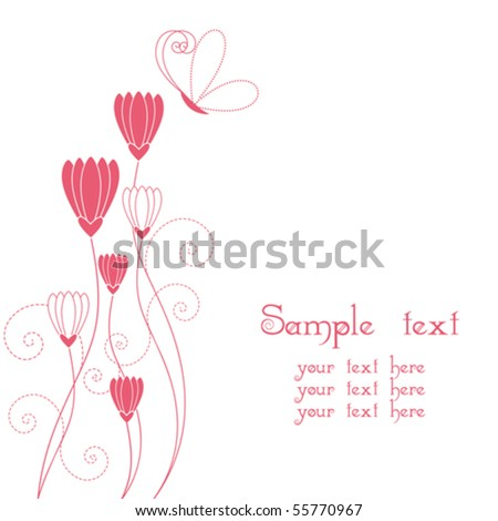 Abstract floral with butterfly greeting card