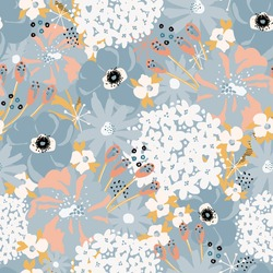 Abstract florals seamless vector pattern. Repeating flower background Hydrangea, Aster, Poppy blue white pink. Modern contemporary surface pattern design for fashion fabric, wallpaper, summer decor.