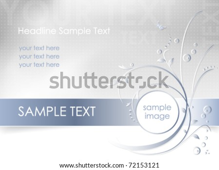 Abstract flower background - floral greeting card - white, blue and light gray color - vector, eps10