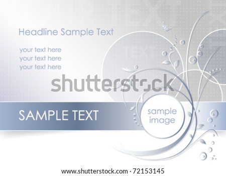 Abstract flower background - floral greeting card - white, blue and light grey color - vector, eps10