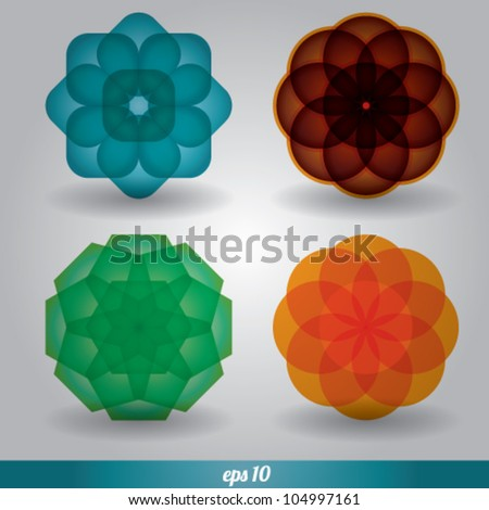 abstract flower circle vector set