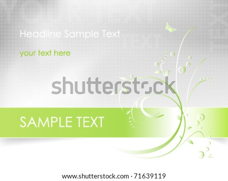 Abstract flower design - floral card background in white, green and light grey color - vector, eps10 - stock vector