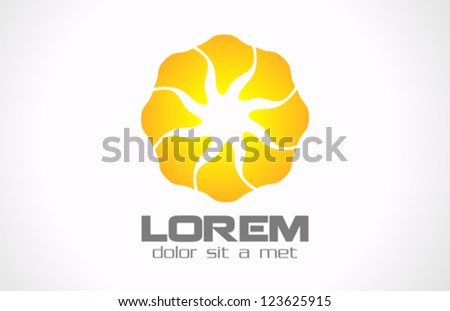 Abstract Flower design logo template. Infinite shape.  Creative octo star icon. Sun concept. Vector. - stock vector