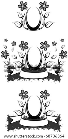 Abstract flower design with leaves, circular frame, banner and splatter