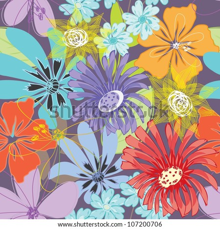 Abstract flower seamless pattern background. - stock vector