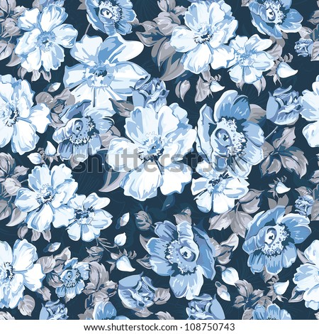 Abstract flower seamless pattern background. Elegance Floral vector illustration.