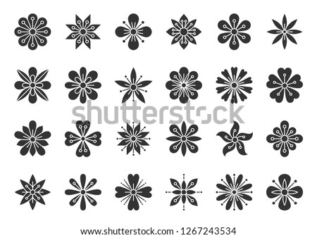 Abstract Flower silhouette icons set. Sign kit of spring floral. Minimal Style pictograms of tribal ethnic, cute decoration, yoga label. Simple plant black symbol isolated. Vector Icon shape for stamp