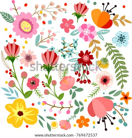 Abstract flowers and herbs background Vector design with hand drawn herbs and flowers. Decorative botanical background