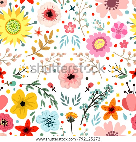 Abstract flowers and herbs seamless pattern.Vector design with hand drawn herbs and flowers. Decorative botanical background