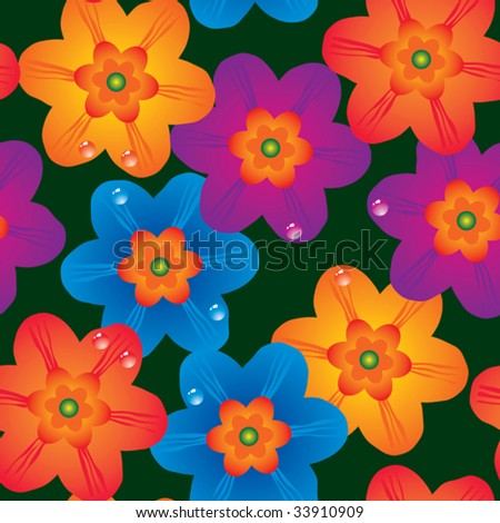Abstract flowers background. Seamless. Multicolor palette. Vector illustration.