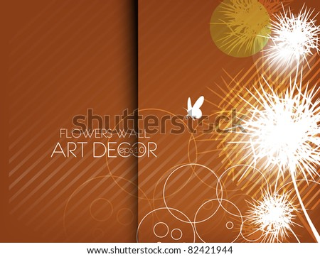 abstract flowers card design, vector illustration