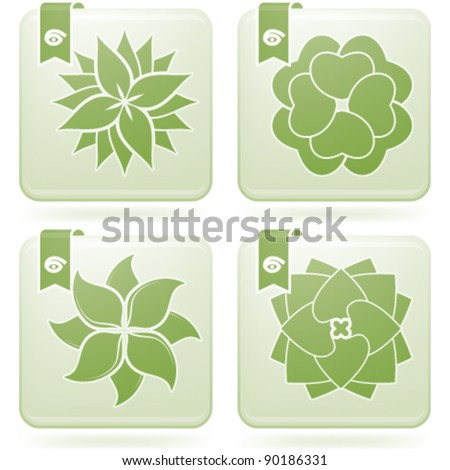 Abstract Flowers Icons Set (part of the Olivine Squared 2D Icons Set)