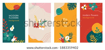 Abstract flowers Social media stories organic backgrounds set with modern color combinations, shapes, flowers and plants, monstera leaves, vertical format For advertising, branding vector illustration ストックフォト ©