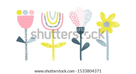 Abstract flowers vector illustrations set. Doodle blooming plants flat simple composition. Decorative Scandinavian scribble, line and dot drawing. Blossoming tulip, chamomile, dandelion, bud Photo stock ©