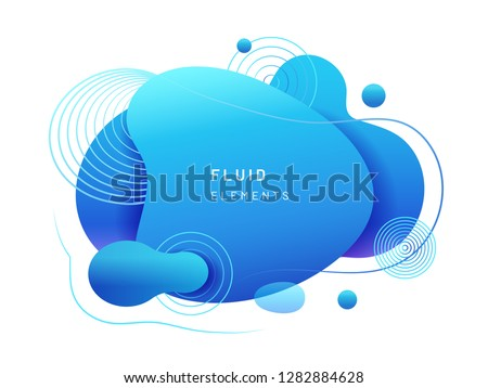 Abstract fluid blob in 3d shape. Blue liquid spot for flyer or cerulean dynamical colored free forms. Azure aqua blotch for card or presentation, logo background template. Modern geometric blot