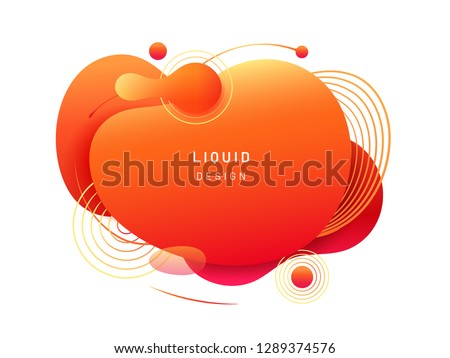 Abstract fluid blob in 3d shape. Red liquid spot for flyer or cerulean dynamical colored free forms. Blotch for card or presentation, logo background template. Modern geometric blot