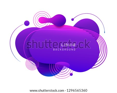 Abstract fluid blob in 3d shape. Violet liquid spot for flyer or cerulean dynamical colored free forms. Aqua blotch for card or presentation, logo background template. Modern geometric blot