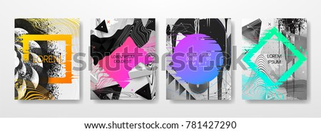 Abstract Fluid creative templates, cards, color covers set. Geometric design, liquids, shapes. Trendy vector collection. #781427290