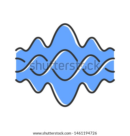 Abstract fluid overlapping waves color icon. Music, melody rhythm. Digital soundwave, flowing waveform. Sound volume, dj equalizer curve. Noise, vibration amplitude level. Isolated vector illustration