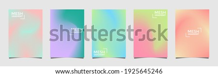 Abstract 5 fluid shapes mesh gradient colors backgrounds set. Modern vector template for brochure, flyer, cover, catalog, poster etc in A4 size. Colored fluid graphic composition. Editable vector.