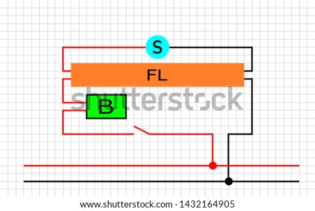abstract fluorescent lamp diagram with grid background . basic learning for electrician .
