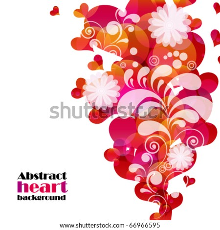 Abstract fly hearts. Vector image. - stock vector