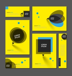 Abstract flyer art. Yellow brochure cover design. Info banner frame. Elegant ad text font. Title sheet model set. Fancy vector front page. Square printed blurb. Blue, black figures icon. Diary binder