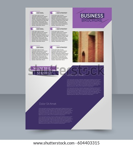 Abstract flyer design background. Brochure template. For magazine cover, business mockup, education, presentation, report. Vector illustration. Purple color