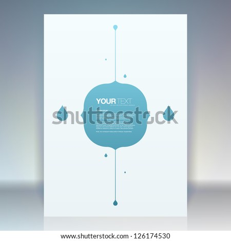 Abstract flyer design vector with text box and drops in the background