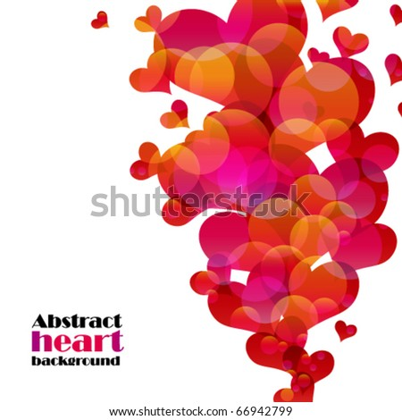 Abstract flying hearts. Vector image.