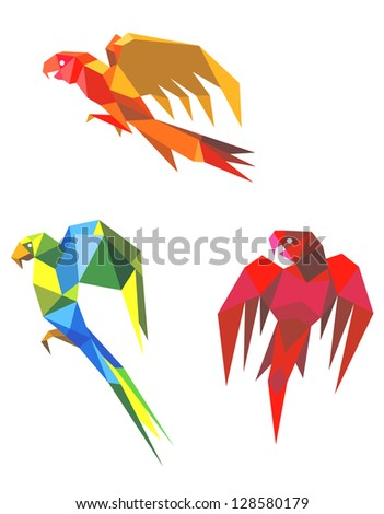 Abstract flying origami parrots isolated on white background. Jpeg version also available in gallery