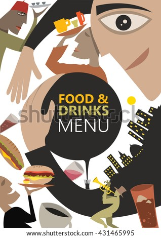 abstract food and drinks menu