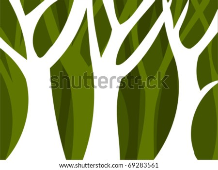 Abstract forest full of trees. Vector illustration - stock vector