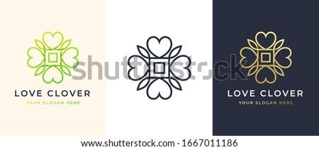 abstract four leaf love clover