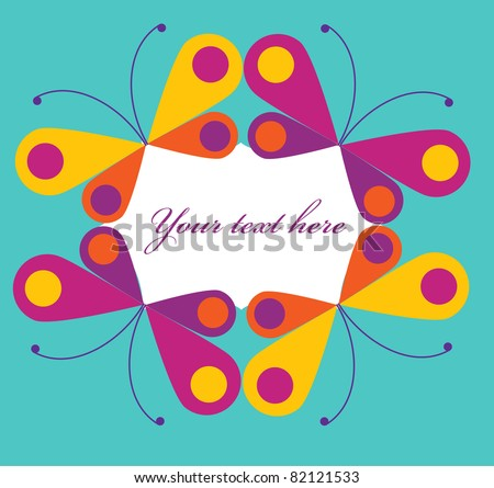 abstract frame of colorful butterfles, vector illustration