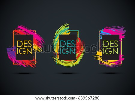 Abstract frame set isolated on black background.For web site,poster,placard and promotion material.Also useful for flyer and banner