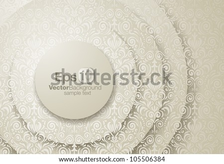 Abstract frame vector illustration with delicate seamless floral decoration, over a 3d background