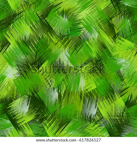 Abstract fresh seamless pattern with intersected brush strokes. Various green color tints: emerald, lime, dark green.