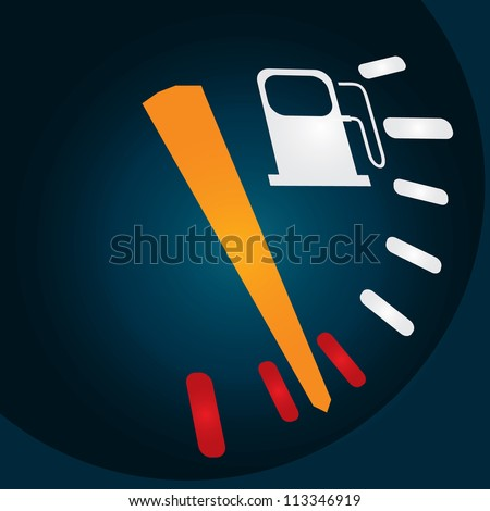 Abstract fuel indicator with fuel station sign - vector