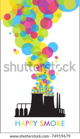 Abstract funky illustration of factory. Vector. - stock vector