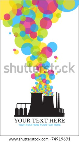 Abstract funky illustration of factory. Vector. Place for your text.
