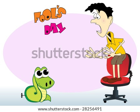 abstract funny background with man stand on chair and snake