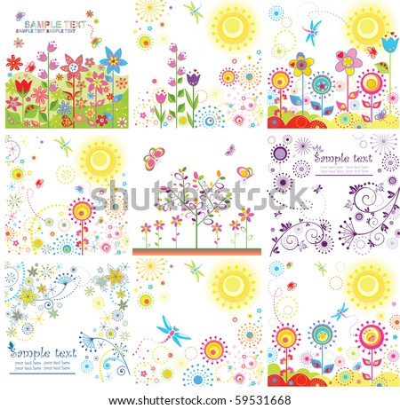 Abstract funny cards - stock vector