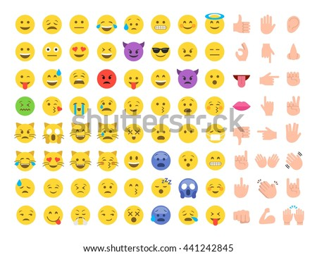 stock-vector-abstract-funny-flat-style-emoji-emoticon-icon-set