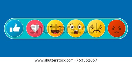 abstract funny flat style emoji