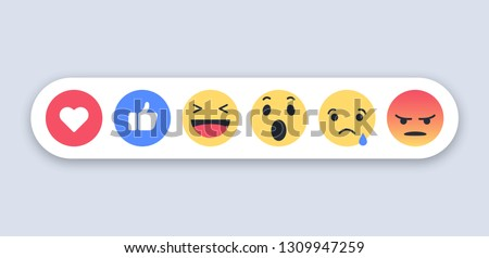 Abstract funny flat style emoji emoticon reactions color icon set. Social smile expression collection
