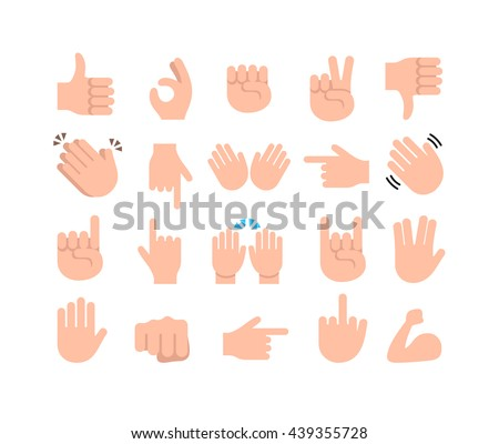 Abstract funny flat style hand emoji emoticon icon set